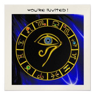 "ASTRAL EYE / BLUE TALISMAN ,gold metallic 5.25"" Square Invitation Card"