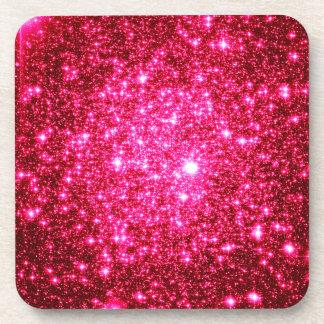 Astral Glitter Hot Pink Beverage Coaster
