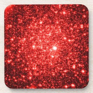 astral glitter Red Beverage Coaster