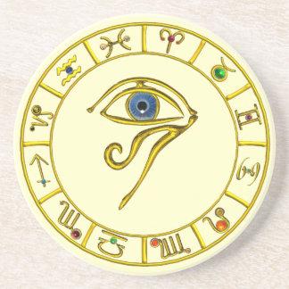 ASTRAL HORUS EYE,BLUE TALISMAN Astrology Chart Coaster