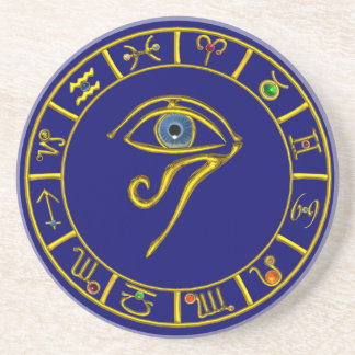 ASTRAL HORUS EYE,BLUE TALISMAN Astrology Chart Drink Coaster
