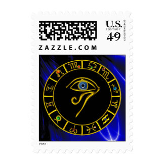 ASTRAL HORUS EYE,BLUE TALISMAN Astrology Chart Postage