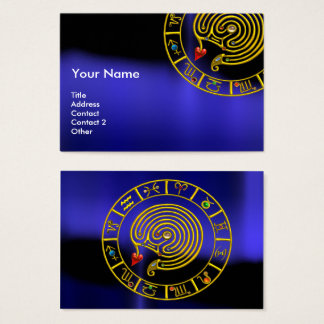 ASTRAL LABYRINTH,ASTROLOGY ZODIAC CHART Black Blue Business Card