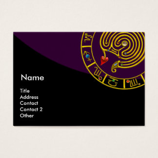 ASTRAL LABYRINTH,ASTROLOGY ZODIAC CHART Purple Business Card