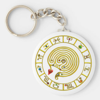 ASTRAL LABYRINTH,ZODIAC SIGN Astrology Chart White Basic Round Button Keychain