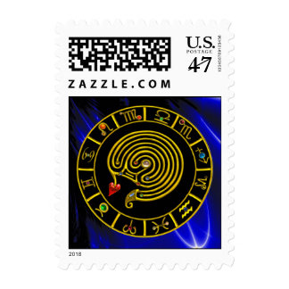 ASTRAL LABYRINTH ZODIAC SIGN CHART Astrology Postage Stamp