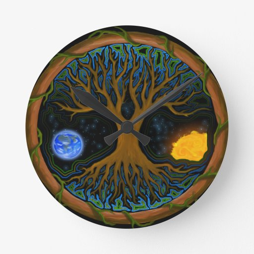 Astral Tree of Life Round Clock