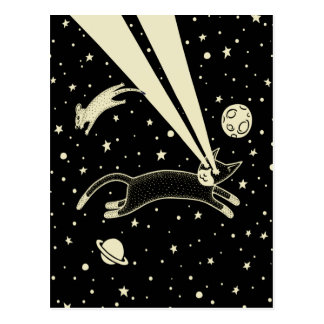 Astro Cat & Mouse Postcard