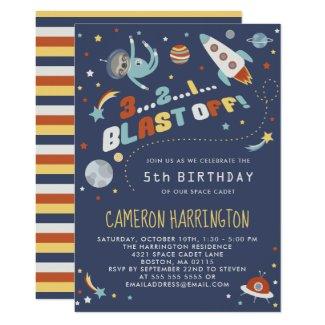 Astro Sloth - Space Kids Birthday Party Invitation