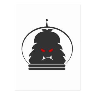 Astro Yeti Gray w/ Red Eyes Postcard