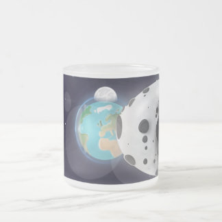 Astroid about to impact on Planet Earth Frosted Glass Coffee Mug