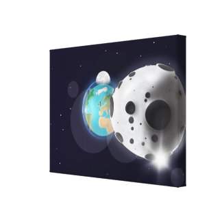 Astroid impact the Planet Earth! Canvas Print