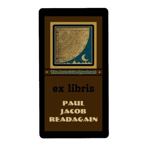 Astrolabe Quadrant  bookplate Label
