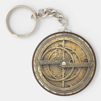 Astrolabio antiguo 2 llavero redondo tipo pin