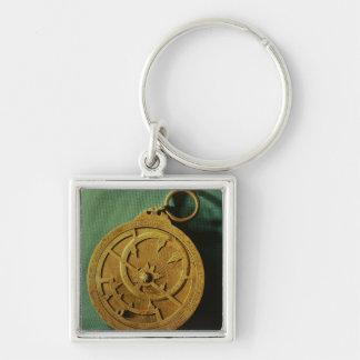 Astrolabio (cobre) llavero cuadrado plateado