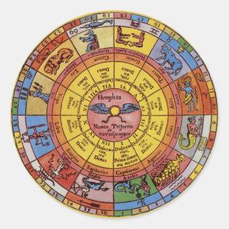 Astrología antigua del vintage, rueda celestial pegatina redonda
