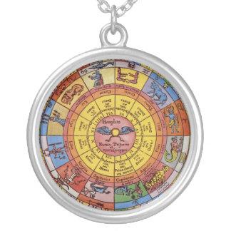 Astrología celestial del vintage, rueda antigua colgante redondo