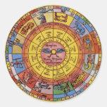 Astrología celestial del vintage, rueda antigua de etiquetas redondas
