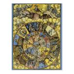 Astrología celestial del vintage, rueda del zodiac postal