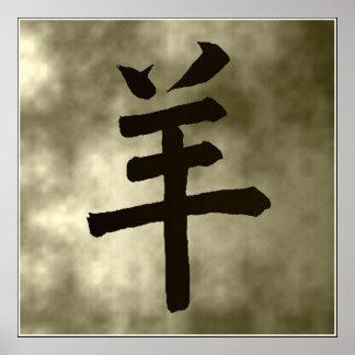 Astrología china al año de la cabra del cerdo póster