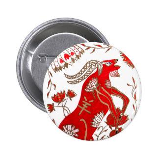 Astrología china de las ovejas pin redondo de 2 pulgadas