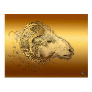 Astrología china occidental del espolón de oro del tarjetas postales