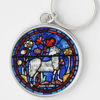 Astrología del aries 6 - vitrales góticos - llavero redondo plateado