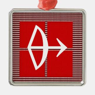 Astrología del sagitario de la flecha del ZODIACO Adorno Cuadrado Plateado
