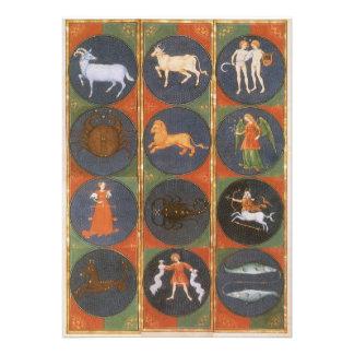 Astrología del vintage carta celestial del zodiac