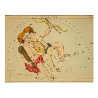 Astrología del vintage/constelación de los géminis tarjeta postal