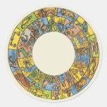 Astrología del vintage, rueda celestial antigua de pegatinas redondas