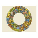 Astrología del vintage, rueda celestial antigua de tarjeta postal