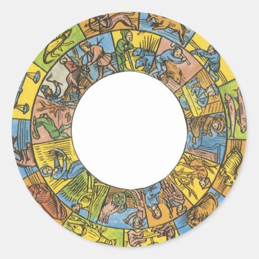 Astrología del vintage, rueda celestial antigua pegatinas redondas