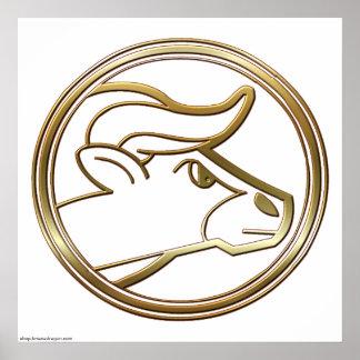 Astrología del zodiaco del tauro del latón y del c impresiones