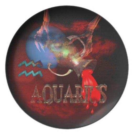 Astrología espeluznante del zodiaco del acuario platos