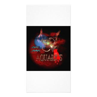Astrología espeluznante del zodiaco del acuario po plantilla para tarjeta de foto