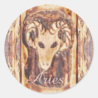 Astrología primitiva Lg. del zodiaco griego del Pegatinas Redondas