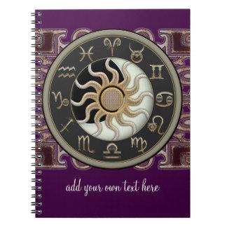 Astrología Sun y diseño de la luna personalizado Note Book