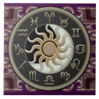 Astrología Sun y luna Azulejo Cuadrado Grande
