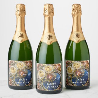 Astrological Clock New Year Celebration Wine Label