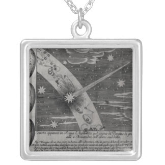 Astrological diagram of the comet silver plated necklace