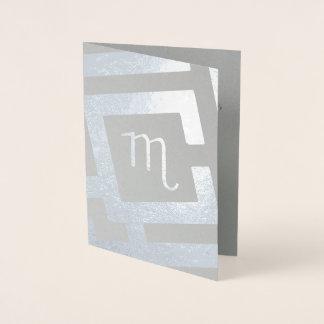 Astrological Sign Scorpio Silver Decor Custom Text Foil Card