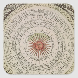 Astrological table of the Sun Square Sticker