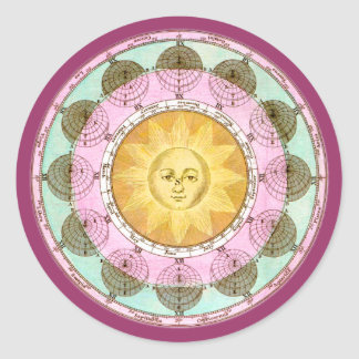 Astrological Wheel with Sun Classic Round Sticker