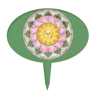 Astrological Wheel with Sun Oval Cake Pick
