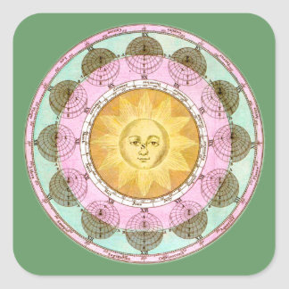 Astrological Wheel with Sun Square Stickers