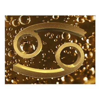 Astrological Zodiac Signs Sun Sign Cancer Gold Postcard