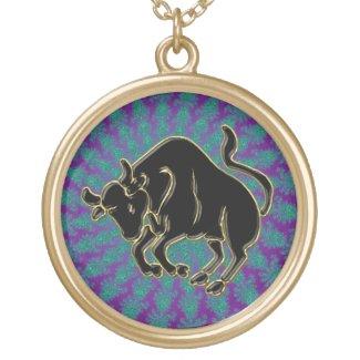 Astrology Black Zodiac Sign Taurus Bull Necklace