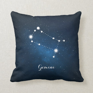 Astrology Blue Nebula Gemini Zodiac Sign Throw Pillow