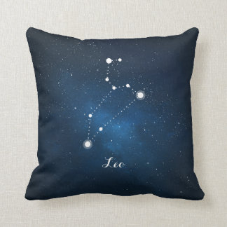 Astrology Blue Nebula Leo Zodiac Sign Throw Pillow